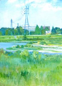 知久正義「鉄塔のある多摩川」